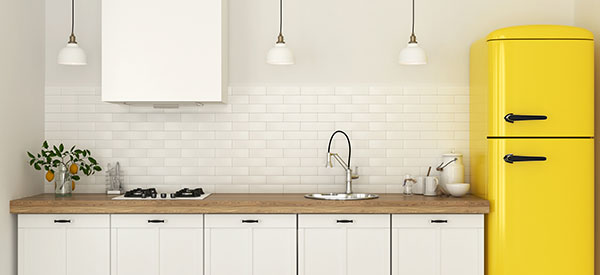 You can put more color into your kitchen's design with colored but elegant accessories.