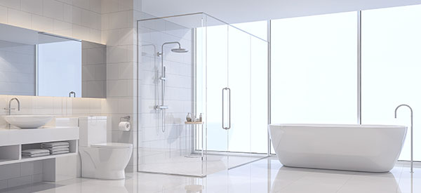 Glassed-in showers allow more light, make the room seem bigger, and are easier to clean.