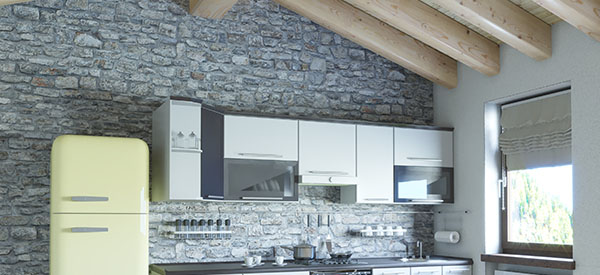 Natural stone is favored by the latest kitchen designs and can be used all around the kitchen, from walls to the ceiling.