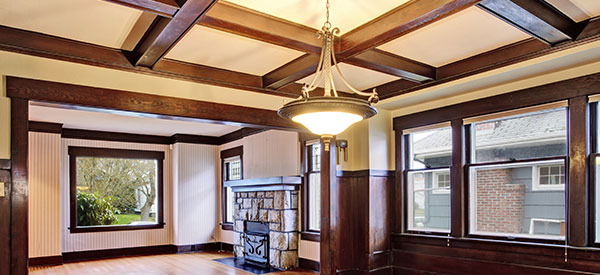 Create emphasis with a coffered ceiling in Calgary.