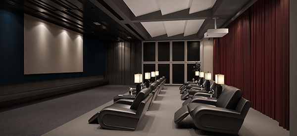 A home theater must be located away from the main rooms of the house.
