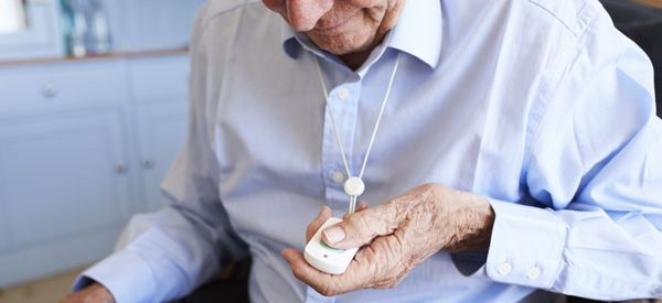 Seniors send a distress signal to monitoring centers in an emergency